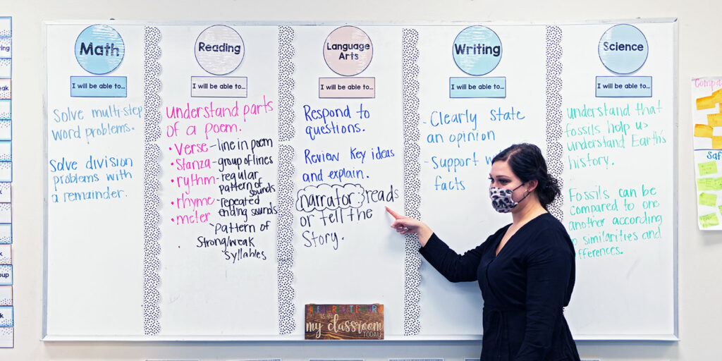 Teacher pointing to a lesson on a white board in a classroom.