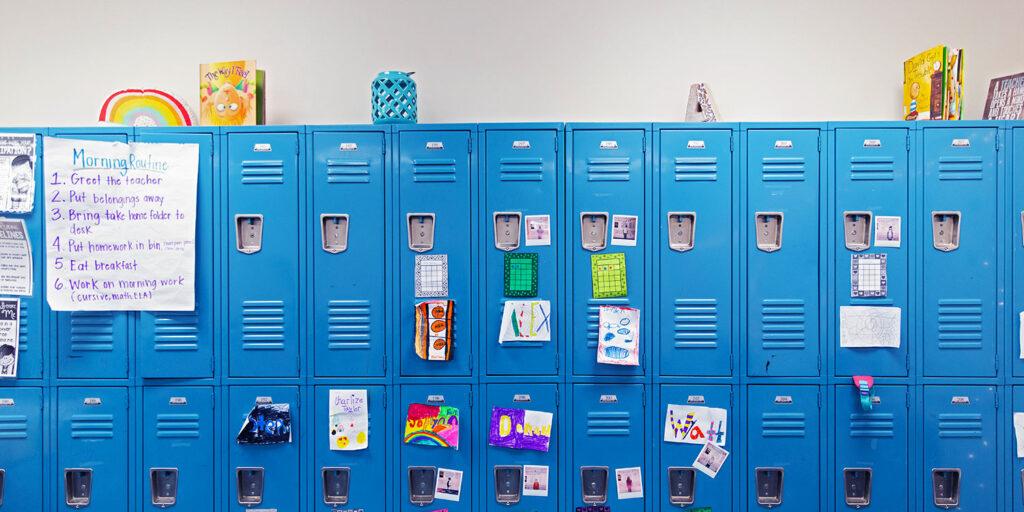 Lockers decorated at Case Prep.